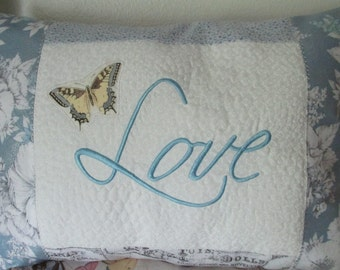 "Embroidered ""Love"" Pillow Done in Blues with Butterfly and Extra Stitching"