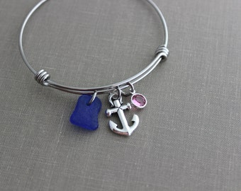 Anchor charm Bracelet stainless steel adjustable beach expandable silver wire bangle genuine sea glass and Swarovski crystal birthstone