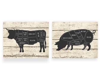 Kitchen Art Print Cow and Pig Hog Butcher Diagram  Set of Two - 5x7, 8X10, 11x14 Butcher Shop Chart, Farm Animal, Art Print