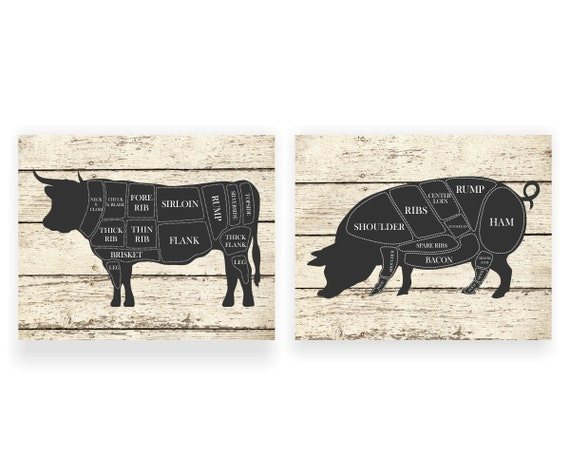 Kitchen art print cow and pig hog butcher diagram set of two ccuart Gallery