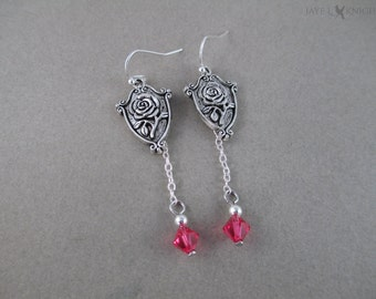 Beauty and the Beast Rose Charm Earrings - Silver Charms