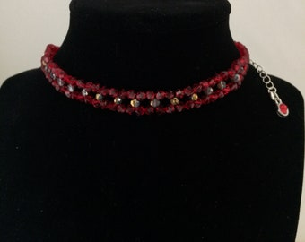 House Inspired Necklace Crystal Beads Choker Red Gold