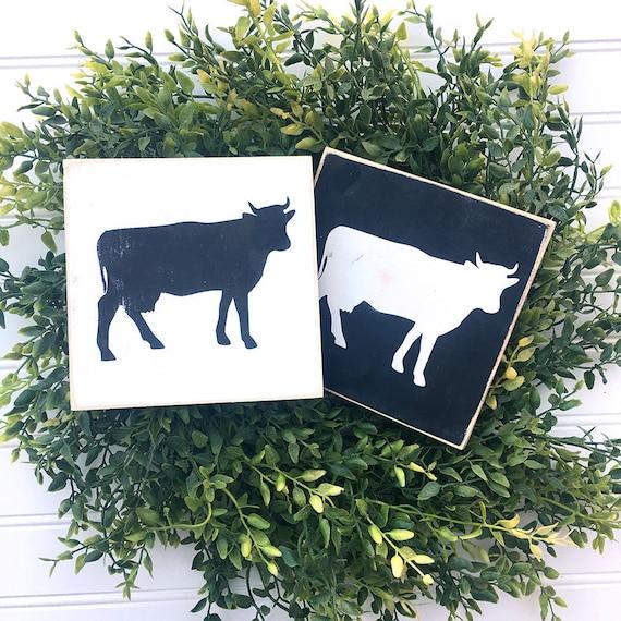 Mini Cow Wood Sign Farmhouse Gallery Wall Home Decor - Decor-uas