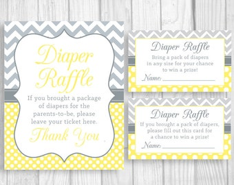 Diaper Raffle 8x10 Printable Baby Shower Sign, Sheet of 3x5 Raffle Tickets - Yellow Chevron Gray & White Polka Dots, Unisex, Gender Neutral