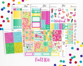 Tropical Vibes- Vertical Weekly Kit Planner Stickers; Summer, Pineapples, Vacation