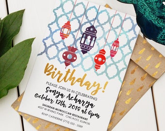 Moroccan Birthday Invitation | Custom Birthday Invite | Editable Birthday Invitation | Moroccan Motif and Lanterns | Instant Download