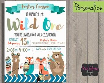 Wild One Invite, Wild One Invitation, Wild One Birthday, Wild One Party, Wild One, Tribal Birthday Invitation, Tribal, Aztec, DIGITAL FILE