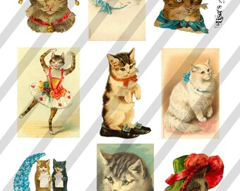 Digital Collage Sheet Vintage Cat Images  (Sheet no. O67) Cats-Instant Download