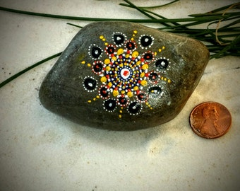Mandala Stone, Hand Painted Rock, Handmade, Dot Painting, Multi Color, Home and Indoor Garden Decor Rock, Zen, Meditative Art