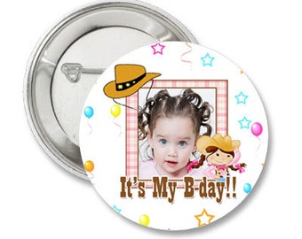Pink Cowgirl Custom Birthday Photo Pinback Button-3.5 inches