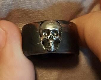 Metal Skull wood veneer ring