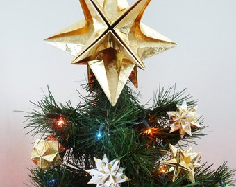 PAPYRUS Origami Christmas Tree Topper - Gold Star, Classic, Original, Modern, Traditional, Classy, Timeless, XMas