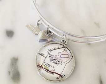 Churchill Downs Map Charm Bangle Bracelet - Map Jewelry - Kentucky Derby - Wanderlust - Travel - Horse Racing