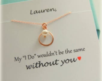 Bridesmaid Jewelry, Rose Gold necklace, Dainty PEARL Infinity Necklace, Bridesmaid Gift, Bridal party gifts, Rose gold bridal jewelry