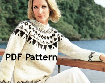Vintage Icelandic Womens and Mens Pullover Sweater Nordic Pattern White Digital Download