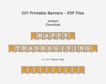 Happy Thanksgiving Banner - Burlap, Light Orange & White - Fall Sign Decoration - Pumpkin Decor - PRINTABLE - INSTANT DOWNLOAD
