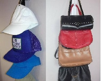 BALL CAP or PURSE hanger organizing space saver for handbags, caps, scarves and belts and more