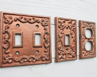 Light Switch Cover,Double Iron Switch Plate,Single Switch Plate, In Washed Penny , Metal Outlet Switch Plate Cover,Woodland Nursery Decor