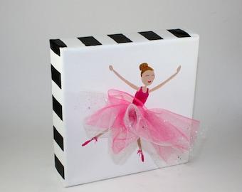 Ballerina Canvas Mixed Media Art, Girls Room, Baby's Room Decor