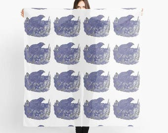 Nesting Bird Blue, large luxury art scarf