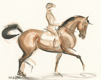 """Horse Painting, Original, Equestrian Art Watercolor by Anna Noelle Rockwell, """"Step To the Plate"""""""