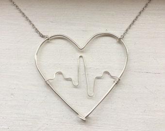 Heartbeat necklace, ekg, nurse necklace, heart, Valentines day gift