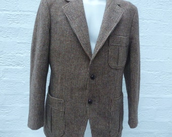 Mens 1960s wool jacket Harris tweed clothing mens fashion green jacket brown winter clothes hand woven blazer vintage gift british jacket uk