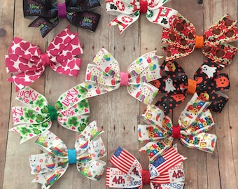 Holiday Hair Bow Set, Pinwheel Bows, Birthday Bow