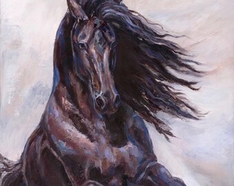 Sold-Friesian horse palette knife Oil painting On canvas ' Equine Elation II'