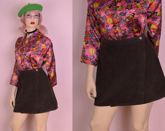 90s Brown Corduroy Wrap Skirt/ 29 Waist/ 1990s