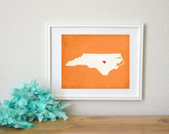 North Carolina State Art Silhouette Map Personalized Print