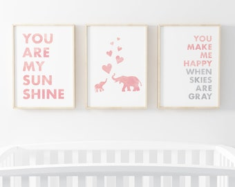 You Are My Sunshine, You Make Me Happy When Skies Are Gray, Elephants - Set of Nursery Prints, 8X10 Pink Watercolor Printable for Nursery,