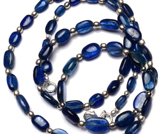 Natural Gemstone Smooth Blue Kyanite 7x5 to 12x9MM Oval Nugget Beads 25 Inch Full Strand Fine Quality Beads from Nepal Complete Necklace