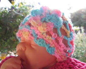 3- 12 Month Baby Girl Cloche Hat Crocheted by SuzannesStitches, 6 Month Baby Girl Hat, 12 Month Baby Girl Pastel Hat, 3 Month Baby Girl Hat