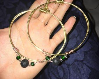 Black lava stone earrings