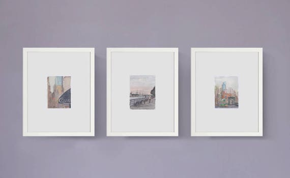Set of three framed prints watercolor paintings NYC