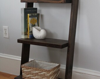 Leaning ladder shelf // bedside table // leaning book shelf // rustic shelf