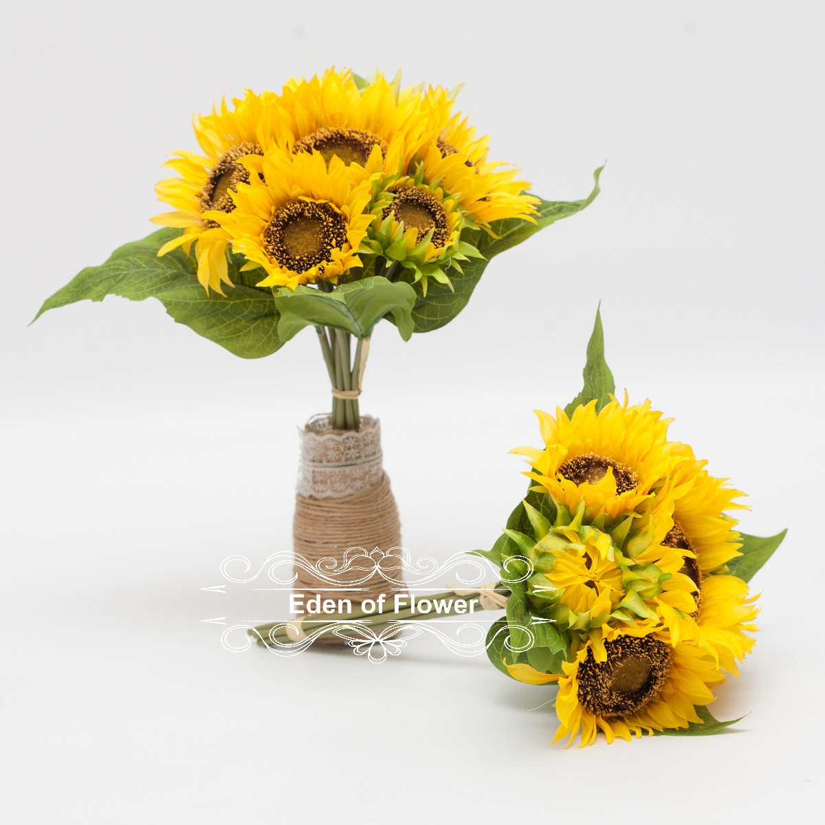 7 Pcs Silk Sunflowers Bouquet for Wedding Centerpieces, Bridal ...