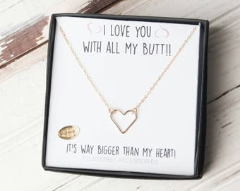 Heart Necklace, Open Heart, I Love You With All My Butt, Sister Necklace, Bff Necklace, Heart Jewelry, Funny Friend Gift, Funny Gift