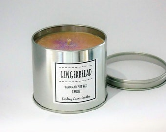 Gingerbread Candle, Gingerbread Scent Candle, Scented Candle, Tin Candle, Ginger Candle, Ginger Scent, Large Candle, Strong Candle