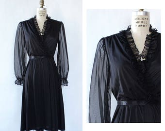 Black Ruffle Dress S • 1970s Dress Small • Vintage LBD • Sheer Sleeve Dress • Puff Sleeve Dress • 70s Dress • D1845