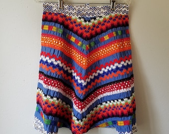 Vintage 60s Girls Textured and Ethnic Skirt in Bright Blue and Orange- Size 14 - Excellent Condition- Costume