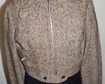 Vintage Tweed Cropped Jacket, UK size 10
