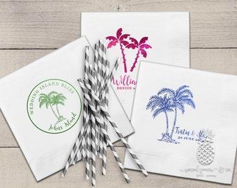 Palm Tree Cocktail Napkins | Tropical Napkins | Personalized Napkins | Custom Napkins | Monogram Napkins | Beach Wedding Napkins | Napkins