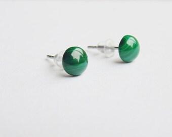 Dark green malachite gemstone small 6mm round stud earrings surgical steel