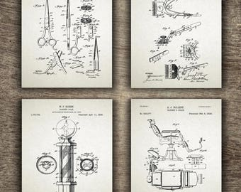 Barber Shop Patent, Barber Printable, Barber Poster, Barber Patent, Barber Pole, Barber Chair, Barber Set of 4 Prints - INSTANT DOWNLOAD -
