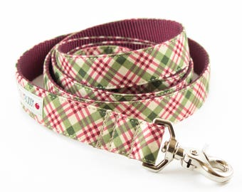 Holiday Burgundy Plaid Dog Leash