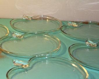 Vintage Apple Shaped plates, set of 6, Hazel Atlas Orchard Crystal Glass