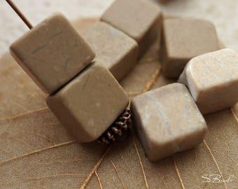 Tan Cubes, Cube Beads, Beads