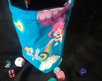 My Little Pony/Rainbow Dash Reversible Dice Bag for Gamers, Tabletop Games, Dungeons and Dragons, Magic the Gathering, RPGs, and Many More!